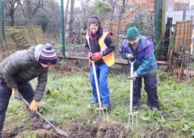 Creating a wildflower patch at Appletree Allotment in Agbrigg.