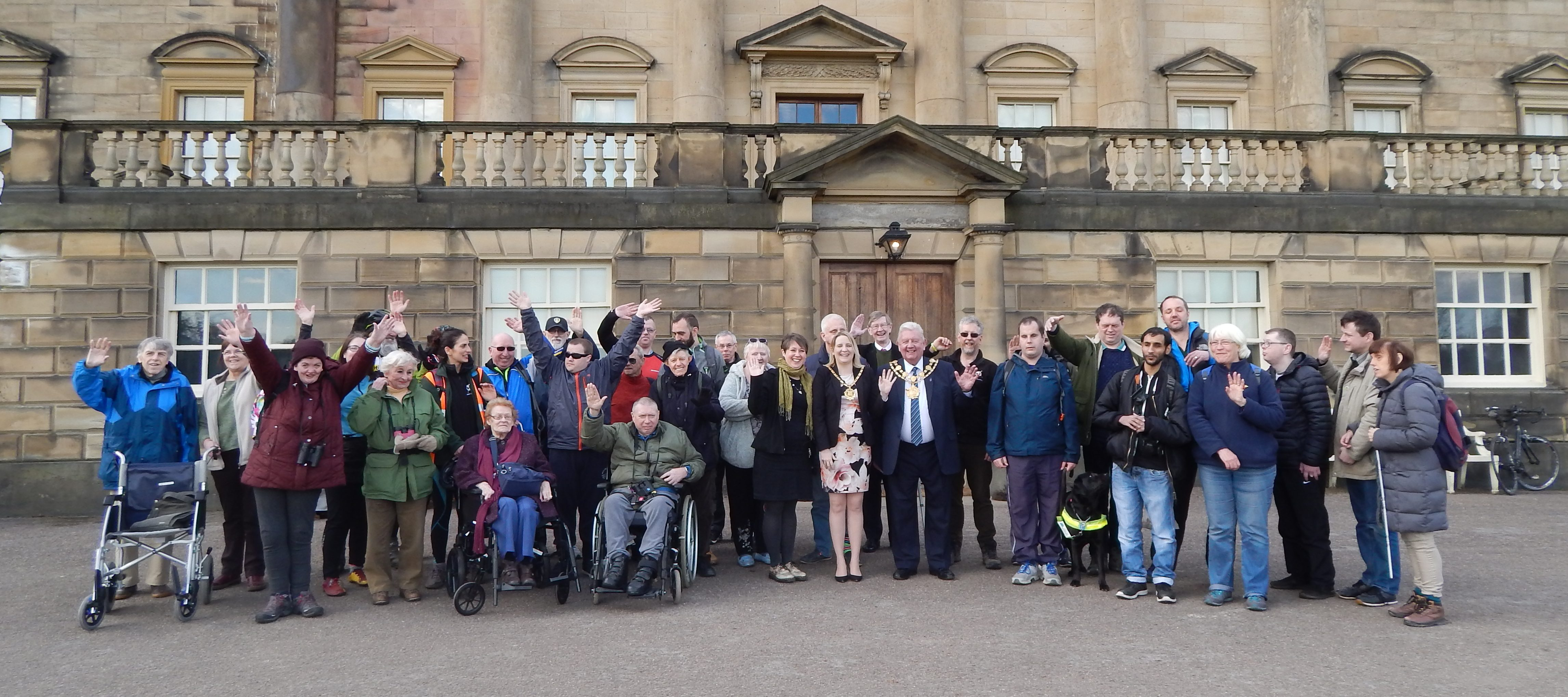 A large group of people outside the country house at Nostell during the launch of the Wakefield Project.