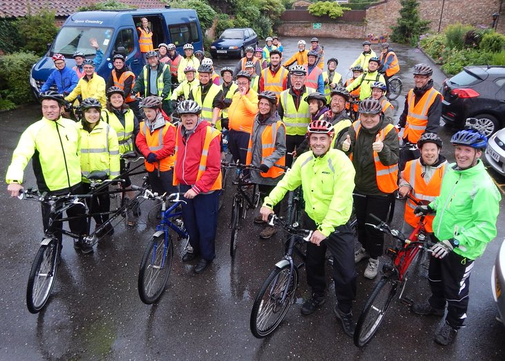 The tandem clubs joining together for a group ride.