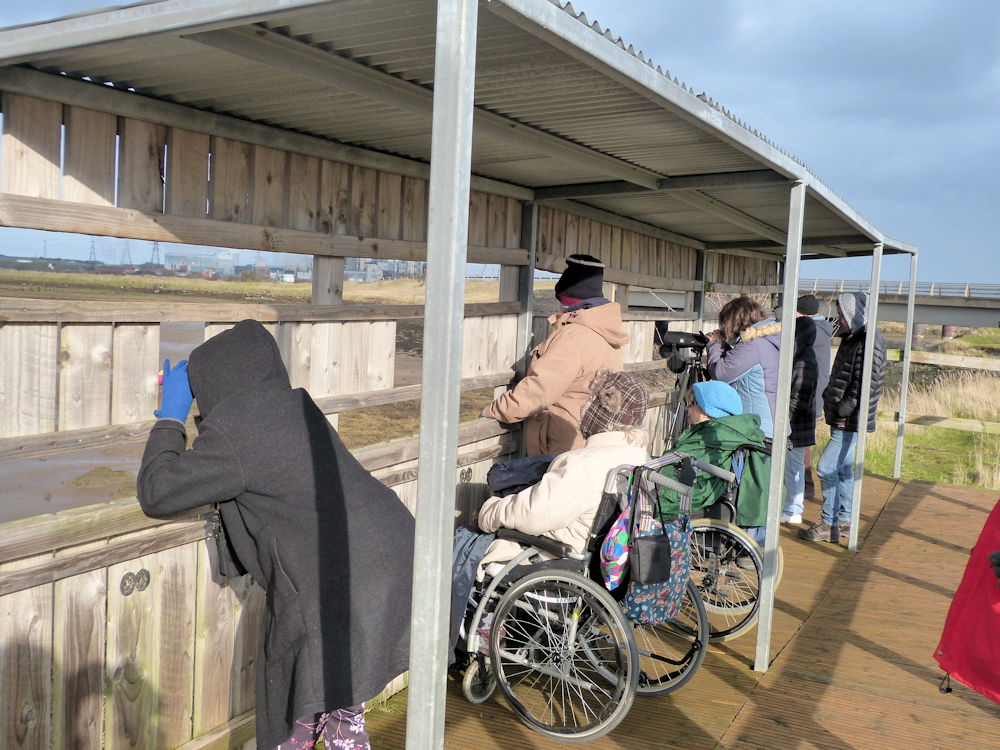 A group of people, some in wheelchairs looking out of a wildlife hide across water.