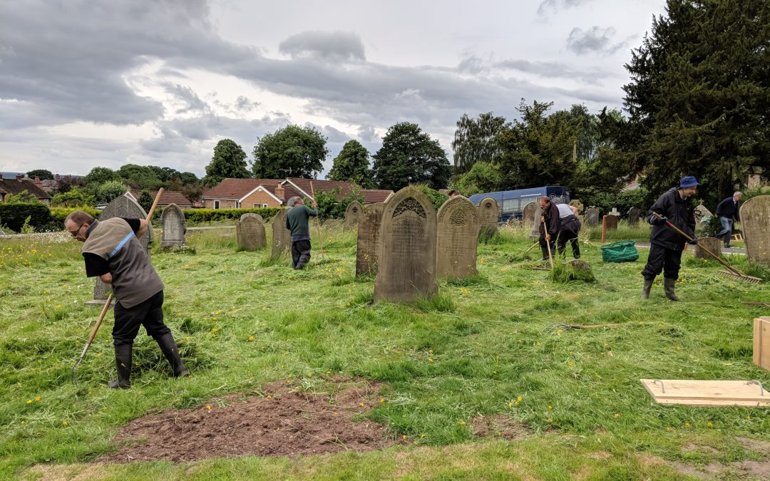 Summer churchyard work begins, as the Conservation Group helps St John's Church in Sharow!